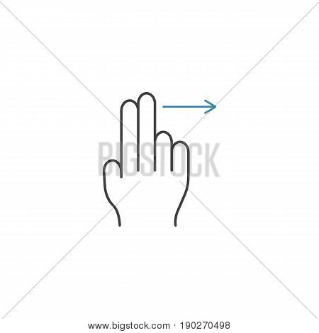 2 Finger swipe right line icon, touch and hand gestures, vector graphics, a color linear pattern on a white background, eps 10.