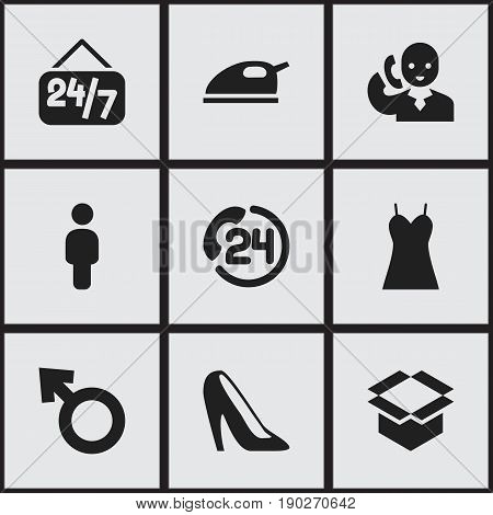 Set Of 9 Editable Shopping Icons. Includes Symbols Such As Speech, Stiletto, Human And More. Can Be Used For Web, Mobile, UI And Infographic Design.