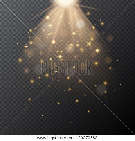 Transparent golden glow with bokeh magic light effect. Vector illustration.