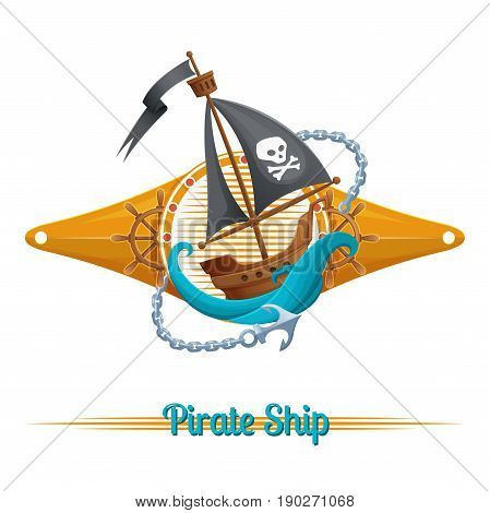 Sea emblem with pirate ship on white background
