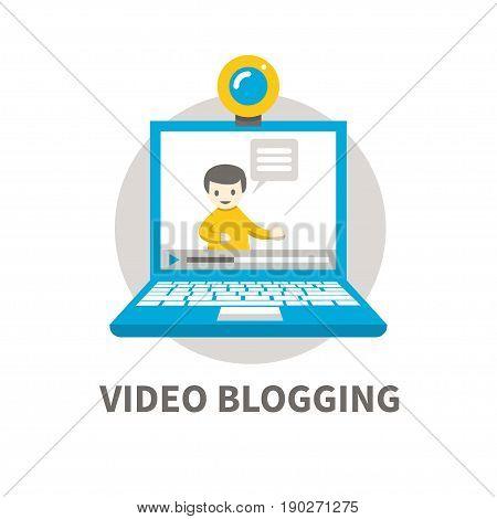 Vector illustration of online video vlogger. Flat design. Man with speech bubble on laptop screen. Concept for videoblogging, modern media or online learning.