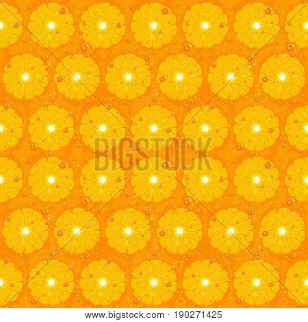 Orange fruit seamless pattern texture cut slices with small water drops, fruit detailed orange background, fresh cut slices citrus texture