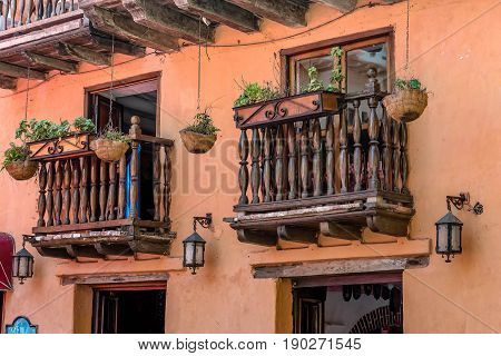 Cartagena, Colombia- March 2, 2017: Colonial style architecture in the old town Cartagena Colombia