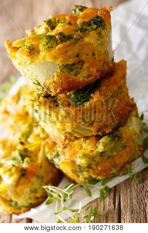 Hearty And Delicious Appetizer: Broccoli Muffins With Cheese Macro. Vertical