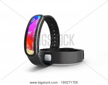 Fitness Bracelet Smart Watch Isolated On White Background 3D
