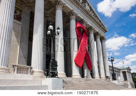 Austrian Parliament With Aids Awareness Ribbon solidarity with HIV