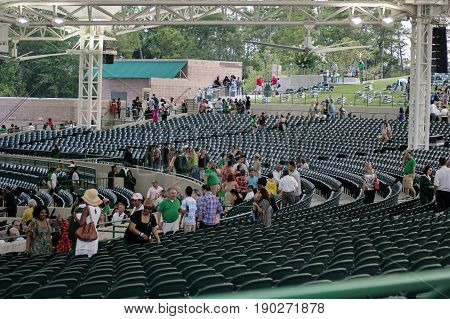 Houston USA - June 10 2012: parents and family leaving at the end of the Highschool graduation ceremony in Houston TX