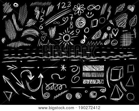 Big set of 105 hand-sketched design elements, pen drawings, VECTOR illustration isolated on black. White scribble lines.