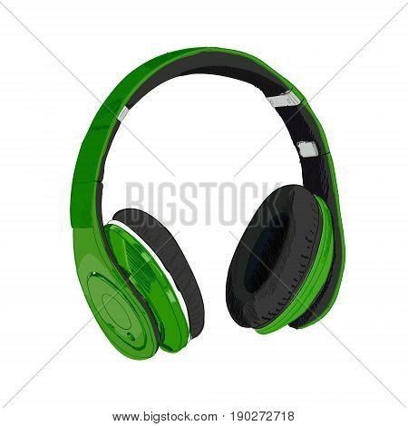 Hand drawn VECTOR headphones isolated on white. Green