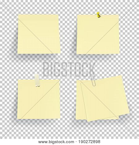 Set of note paper with pin, adhesive tape and clip isolated on transparent background. Vector.