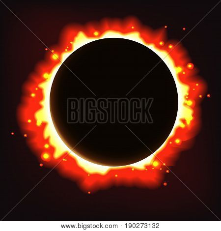 Abstract solar eclipse background. Vector space illustration.