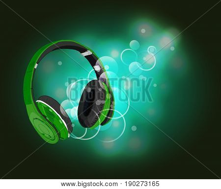 Headphones with magic of music. VECTOR illustration. Green headphones and green abstract lights.