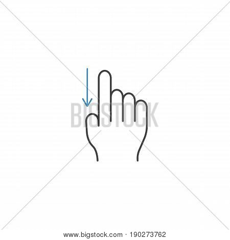 Swipe down finger line icon, touch and hand gestures, vector graphics, a color linear pattern on a white background, eps 10.