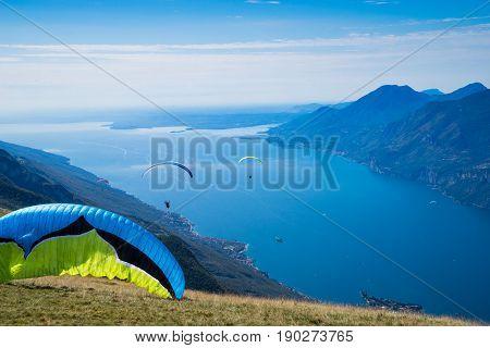 Lago di Garda Italy paragliding around the lake