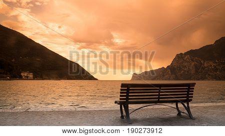 Lago di Garda Italy lake at sunset