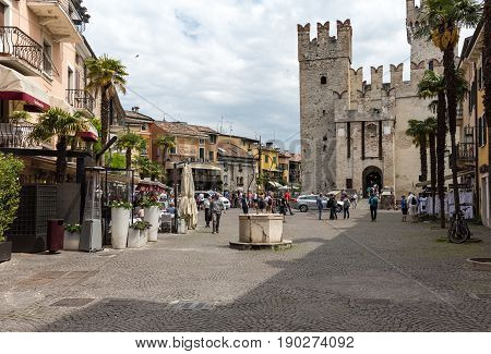 SIRMIONE ITALY - MAY 5 2016: Piazza Castello in Sirmione Lake Garda Italy