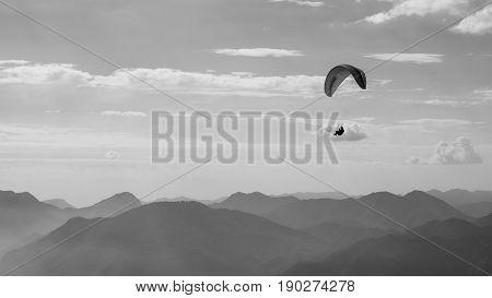 Paraglider in action lago di Garda Italy Garda lake bw