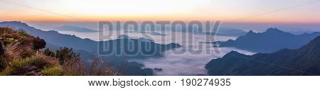 PanoramaScenic views of the mist on the doi samer dao atmosphere in the morning doi samer dao is famous in Nan Thailand. Tourists come overnight watch the stars