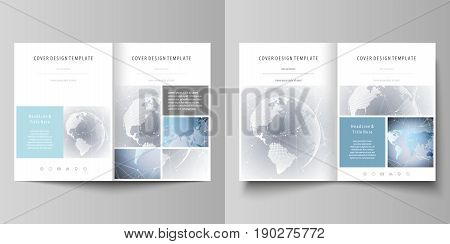 The minimalistic vector illustration of the editable layout of two A4 format modern covers design templates for brochure, flyer, report. Technology concept. Molecule structure, connecting background