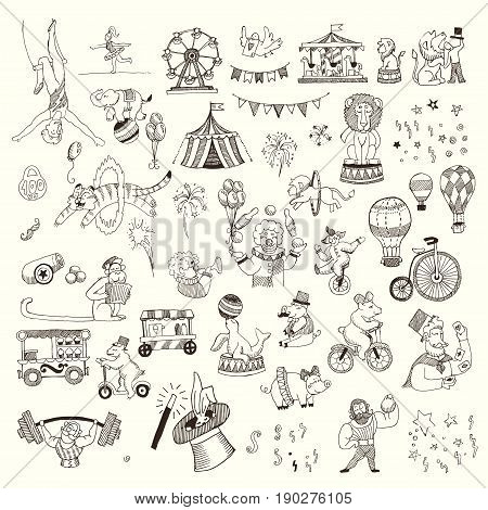 Set of Circus people, animals, elements isolated on white. Black contour for coloring.