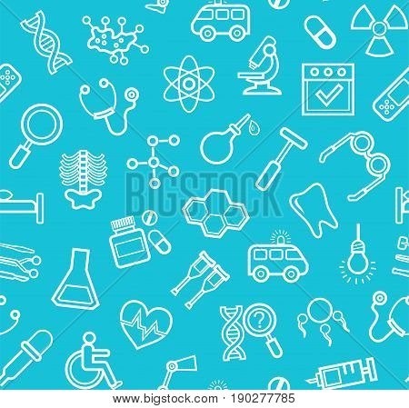 Medicine, blue background, seamless, contour icons, vector.  White, line drawings, medical services and instruments on a blue field. Vector background.
