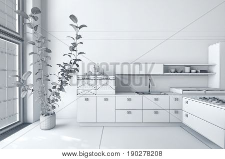 Bright white modern kitchen interior with built in cabinets and appliances and a large potted plant in front of large windows in a loft conversion. 3d rendering