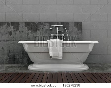 Stylish modern freestanding boat-shaped bathtub with a clean towel in a light grey tiled bathroom with feature wall panel. 3d rendering