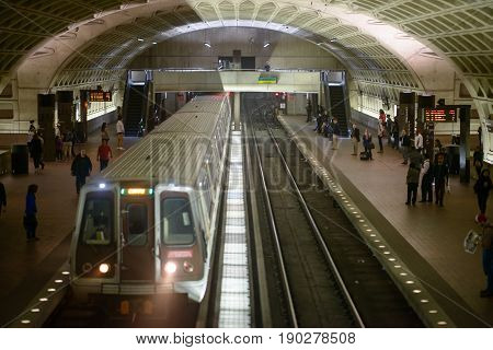 WASHINGTON, DISTRICT OF COLUMBIA - APRIL 14: View of Washington DC Metro Subway Train Station on April 14, 2017