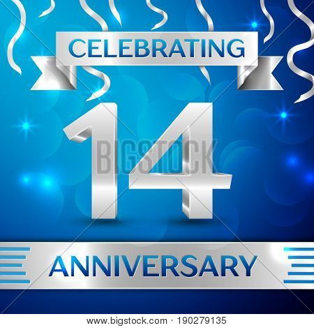 Fourteen Years Anniversary Celebration Design. Confetti and silver ribbon on blue background. Colorful Vector template elements for your birthday party. Anniversary ribbon