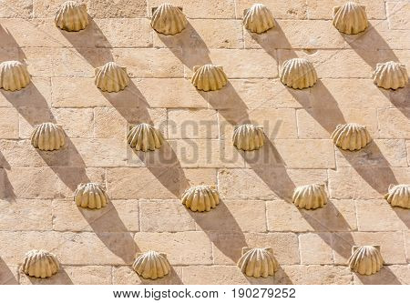 Detail Of The Shells In Casa De Las Conchas In Salamanca, Spain. Exterior Image Shot From Public Flo