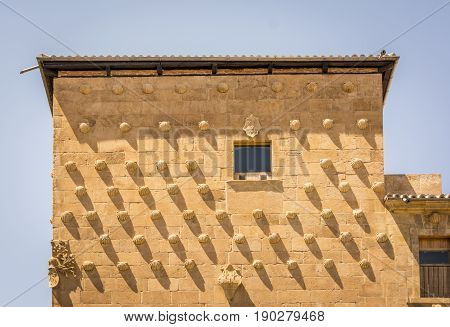 Facade Of The Casa De Las Conchas In Salamanca, Spain. Exterior Image Shot From Public Floor