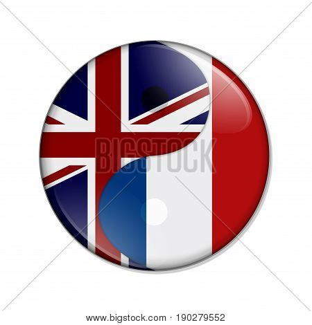 Britain and France working together The British flag and French flag on a yin yang symbol isolated over white 3D Illustration