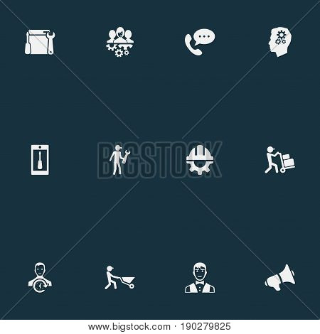 Vector Illustration Set Of Simple Service Icons. Elements Assistance, Renovation Equipment, Notice And Other Synonyms Waiter, Announcement And Renewal.