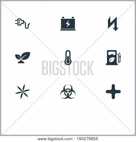 Vector Illustration Set Of Simple Green Icons. Elements Biology Peril, Fahrenheit, Supply And Other Synonyms Storm, Floret And Fahrenheit.