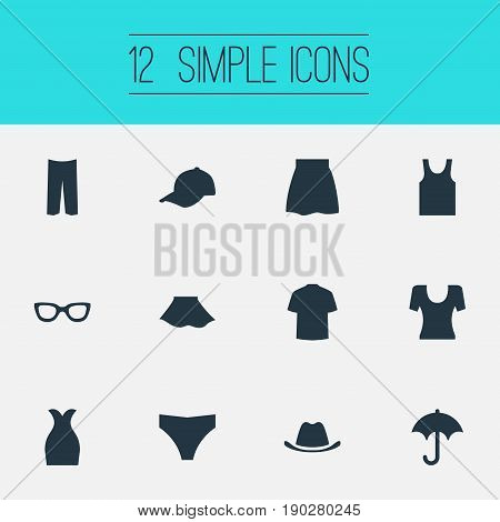 Vector Illustration Set Of Simple Dress Icons. Elements Knickerbockers, T-Shirt, Attire And Other Synonyms Wear, Protect And Attire.