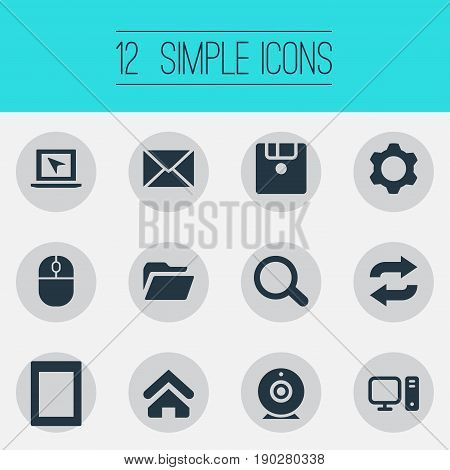 Vector Illustration Set Of Simple Technology Icons. Elements Reload, Broadcast, Palmtop And Other Synonyms Desktop, Envelope And Tablet.