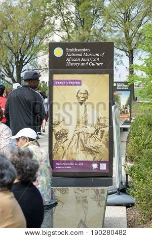WASHINGTON, DISTRICT OF COLUMBIA - APRIL 14: A view of the Smithsonian National Museum of African American History on April 14, 2017