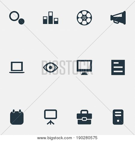 Vector Illustration Set Of Simple UI Icons. Elements Bullhorn, Display, Colums Graph And Other Synonyms Graph, Sheet And Device.