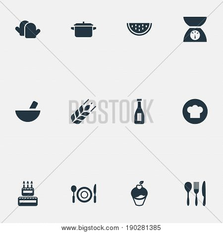 Vector Illustration Set Of Simple Food Icons. Elements Balsamic Vinegar, Cutlery, Kitchen Gloves And Other Synonyms Birthday, Silverware And Kitchen.