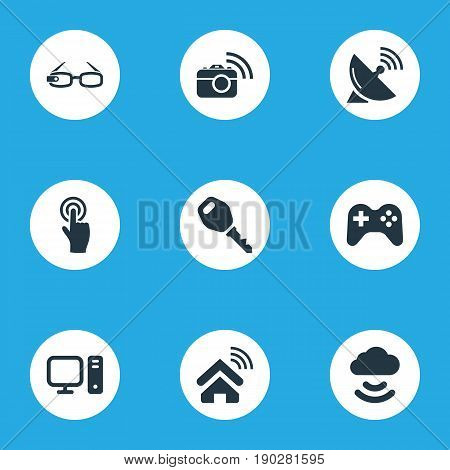Vector Illustration Set Of Simple Web Icons. Elements Antenna, Photography, Interactive Display And Other Synonyms House, Cloud And Access.