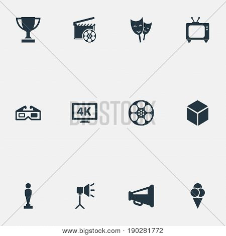 Vector Illustration Set Of Simple Cinema Icons. Elements Megaphone, Oscar, Retro Tv And Other Synonyms Spotlight, Award And Industry.