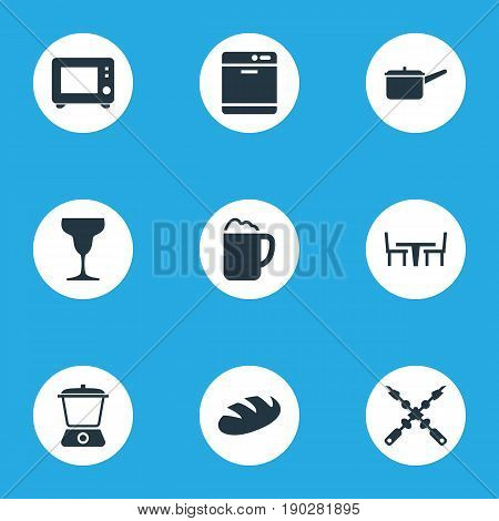 Vector Illustration Set Of Simple Gastronomy Icons. Elements Bbq, Dishware Washer, Wineglass And Other Synonyms Microwave, Mixer And Kebab.