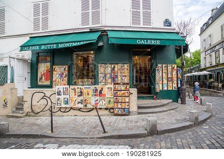 Paris, France - May 12, 2017: Exterior view of an art gallery in Montmartre district