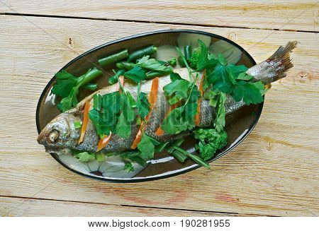 Steamed Whole Fish. Chinese dish. close up