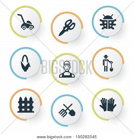 Vector Illustration Set Of Simple Garden Icons. Elements Beetle, Horticultural Gauntlet, Grass Cutting Machine And Other Synonyms Mower, Plougher And Gardening.