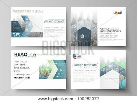 The minimalistic abstract vector illustration of the editable layout of the presentation slides design business templates. Rows of colored diagram with peaks of different height