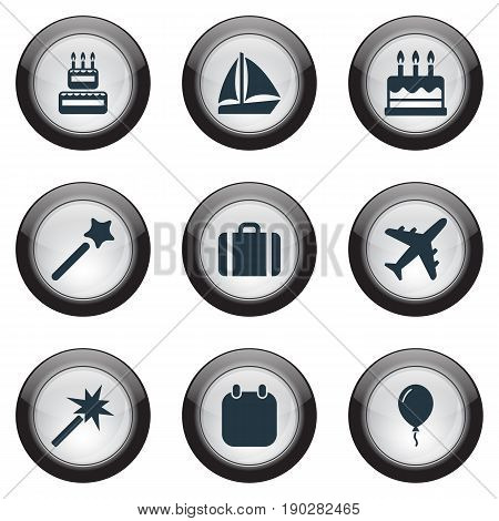 Vector Illustration Set Of Simple Festal Icons. Elements Balloon , Calendar, Wand Synonyms Airplane, Holiday And Vacation.