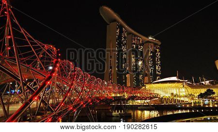 Singapore, Singapore - May 20, 2017: Helix Bridge in the night, beautiful lighting decorated.