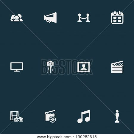 Vector Illustration Set Of Simple Cinema Icons. Elements Virtual Reality, Clapperboard, Megaphone And Other Synonyms Review, Orator And 3D.