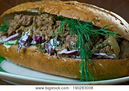 Southern Barbecue Beef Sandwiches. american cuisine. close up